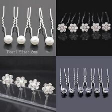 Bridal Diamante Diamond Faux Pearl Flower Clear Jewel Jewellery Wedding Hair Pin