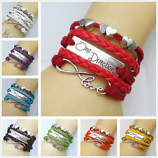 NEW infinity heart One direction Leather Cute Charm Bracelet plated Silver d004