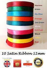 12mm Satin Ribbon shiny half inch 18m wide most demanding fast solid colours