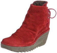 Fly london Yama Red Suede New Womens Wedge Ankle Shoes Boots