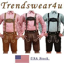 German Bavarian Trachten Oktoberfest Mens Short Length Lederhosen Outfit Costume