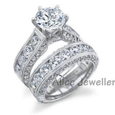 2.5CT 925 Sterling Silver White Gold Plated CZ Engagement Ring Wedding Sets 6-9