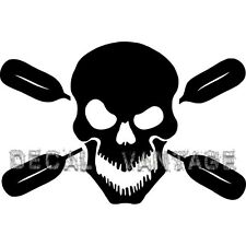 Skull Oars Style B Vinyl Sticker Decal Kayak Canoe Paddles - Choose Size & Color