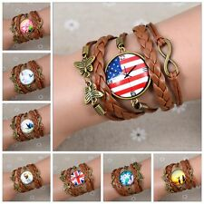 HOT!! Space Star Animals Butterfly Flower  Glass Dome Cabochons Weave Bracelets