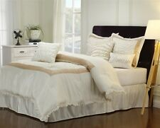 Dream 7 Piece White & Taupe Ruffled Comforter Bedding Bedroom Set Bed in a Bag
