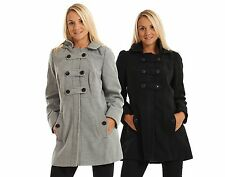 Ladies Winter Coat Black Warm Hood Grey Zip Jacket Buttons Long Double Breasted