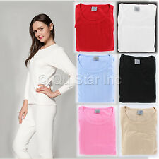New Women's Warm Thermal Underwear Solid Color Long John Top Bottom 2 Piece Set