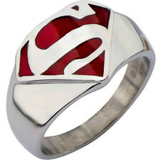 Men Stainless Steel Superman Ring SZ 5 6 7 8 9 10 11 12 13 14 15 Wedding School