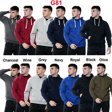 Men Fleece Plain Hoodie Sweatshirt Hooded Pull Over Casual Gym Adult Top