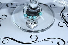 Wedding Wine Glass Charms - Top Table - Turquoise -Huge Choice of Charms/Colours