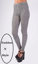 New inFashion Ladies Check Monochrome Print Skinny Fit Ankle Length Leggings