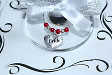 Wedding Wine Glass Charms -Top Table - Red - Huge Choice of Charms and Colours