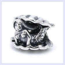 STR Silver Fairy Tale Little Mermaid in Seashell Bead f/ European Charm Bracelet