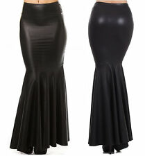 BLACK FAUX LEATHER HIGH WAIST SLIM PENCIL FITTED LONG MERMAID FLARE MAXI SKIRT