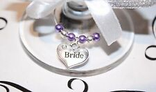Wedding Wine Glass Charms -Top Table - Lilac - Choice of Charms/Colours