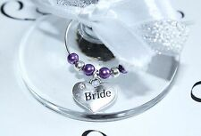 Wedding Wine Glass Charms -Top Table - Deep Purple -  Choice of Charms/Colours