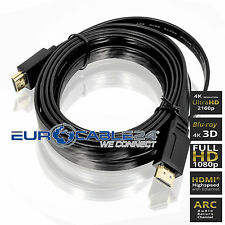 HDMI Kabel 1.4b Schwarz Flach Flat Slim Triple XD Technologie HDMI Movie 24K
