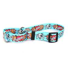 I Luv My Dog Blue Martingale Choke Collar Patterned Webbing Tattoo Heart Flaming