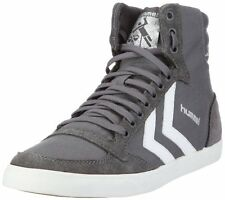 Hummel Slimmer Stadil High Canvas Grey White New Mens Trainers Shoes Boots