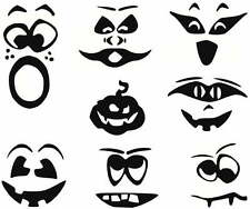 "PUMPKIN FACES  Vinyl Decals  Black    U Choose Size (4"",6"",8""10"") & Design (1-8)"