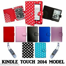 """for AMAZON KINDLE 6"""" TOUCH (SEP 2014 £59 7th EDITION) LEATHER CASE COVER + LIGHT"""
