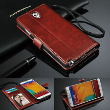 Genuine Real Leather Flip Wallet Case Cover For Samsung Galaxy Note 3 III N9000