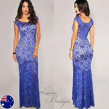 Elegant Blue LACE NUDE ILLUSION GOWN Evening Long Maxi Dress Sz AU 8 -16 Plus