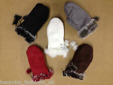 Ladies Womens Suede Faux Fur Trim Mittons Tan Brown Grey One Size For Winter