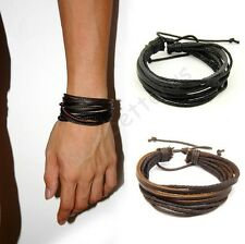 Chic Multilayer Wrap Black Brown Leather Unisex Charms Lucky Bracelet