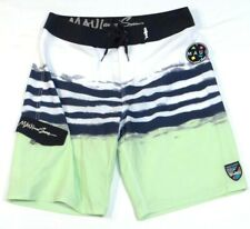 Maui & Sons Super Future White Black Green 4-Way Stretch Board Shorts Mens NWT