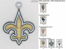 NFL team logo fobs (NFC South), pewter-toned, various teams & keychain options