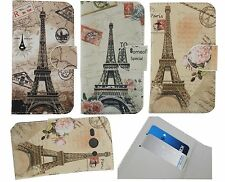 For Samsung Phone Cover Case New PARIS Eiffel Tower PU Leather Skin Card Holder