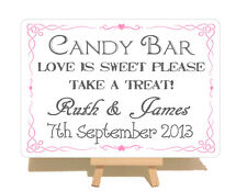 Personalised Swirly Candy Bar Cart Wedding Metal Shabby Chic Style Plaque Sign