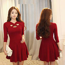 Sexy Women's Long Sleeve Casual Autumn Cocktail Party Short Slim Dress Clubwear