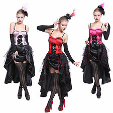 Girls Moulin Rouge Showgirl Fancy Dress Can Can Costume Dance Burlesque Corset