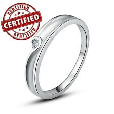 Solid 925 Sterling Silver Solitaire Women's Ring w/ CZ High Quality Nickel Free