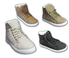 Womens Quilted Ankle Lace Up Ladies Fur Hi-Top Flat Shoes Boots Trainers Sneaker