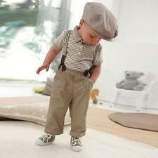 Classic Boy Set Clothes Kids Infant Cool Bib Pants+Top Outfit Overall Summer T59
