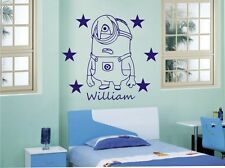 Minion Dispicable Me Personalised Name Wall Sticker Any Name or Colour D2