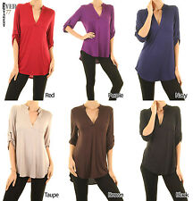 Ever77 New Women's Mandarin Collar Roll Up Sleeve Rayon Tunic Tops/USA/TT1046