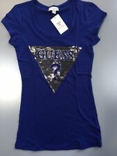NEW NWT Womens GUESS T Shirt Embellished Tracy Tee Boho Blue Size XS S M L XL