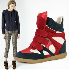 Women's chic Strap High-Top hidden heel Sneakers Shoes/Ladys Ankle Wedge Boots