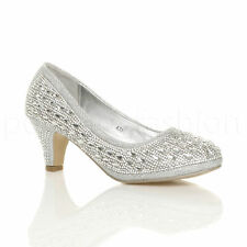 WOMENS LADIES MID LOW HEEL DIAMANTE EVENING WEDDING PROM BRIDAL COURT SHOES SIZE