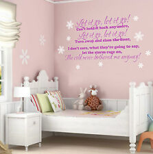 LET IT GO LYRICS FROZEN WALL STICKER - QUOTE -  VINYL MURAL DECAL TRANSFER
