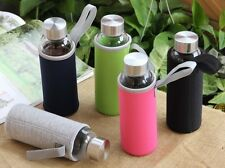 Modern Decanter Glass Water Bottle 9.5oz/280ml with sleeve Eco Friendly Green