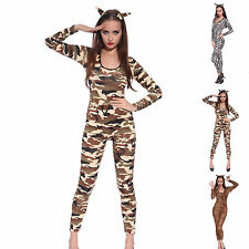 Sexy Ladies Bodysuit Catsuit Party Fancy Dress Zebra Camo Leopard Print Costume