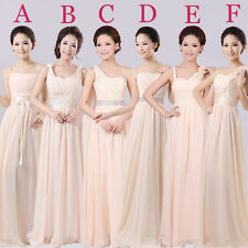 Champagne Long Evening Prom Party Wedding Bridesmaids Dress Ball Gown Gift