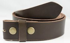 """1 1/2"""" Solid One Piece Leather Full Grain Belt Strap - Brown - TheBeltshoppe.com"""