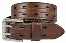Men's Top Grain Leather 2-Hole Belt w/ Roller Buckle - TheBeltShoppe.com - Brown