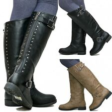 New Women TDh1 Black Studded Riding Knee High Boots sz 5 to 10